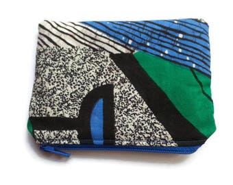 African Fabric Coin Purse, Black White Green Blue, Cards Case, Make Up Pouch, Coupon Holder, Small Necessities Bag, Zippered and Fully Lined