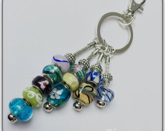 Bag multicolor lampwork glass beads, beads keychain