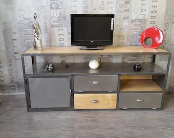Industrial tv Cabinet solid oak 1 door steel