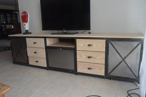 meuble industriel tv acier et bois exceptionnel. Black Bedroom Furniture Sets. Home Design Ideas