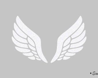 Wing applique white paillete flex fusible