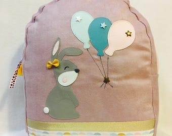 Backpack rabbit and his balloons - suede and faux leather - pink, purple and green