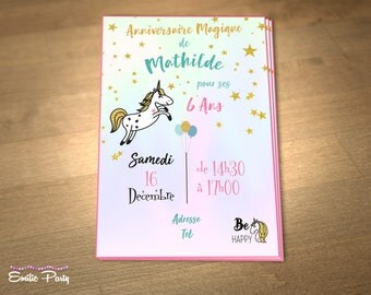 Customizable printable Unicorn themed birthday invitation