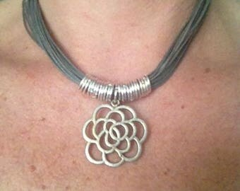 Wedding flower and rings necklace
