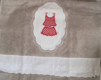 Taupe hand towel embroidered lingerie with polka dots
