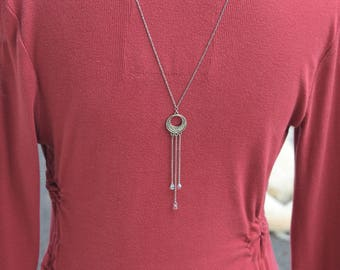 Necklace model silver-plated back jewel drop Reversible M51