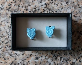 Clip on earrings. Blue owls