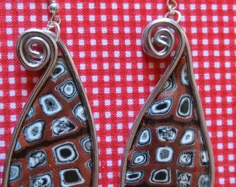 handmade brown drop earring