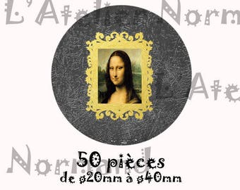 "Digital images for vintage bird illustration series ""Mona Lisa"" 50 pieces"