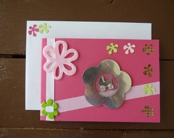 Lined baby girl congratulations card