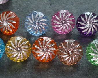 20 multicolored and silver, fancy colorful buttons, knitting, sewing 13 mm buttons buttons buttons