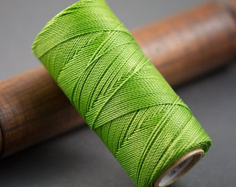 5 yards - wire 0.7 mm olive green waxed polyester cord