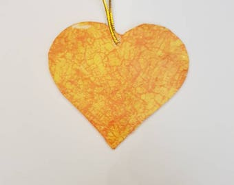 Orange heart tree decoration
