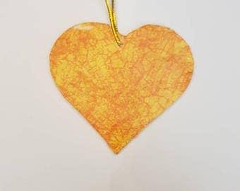 Orange heart tree decoration