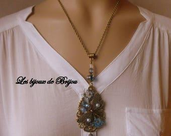 Romantic blue and bronze pendant necklace