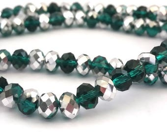 Green Emerald/Silver: 50 glass beads with faceted, abacus shape abacus 4x6mm (pv511)