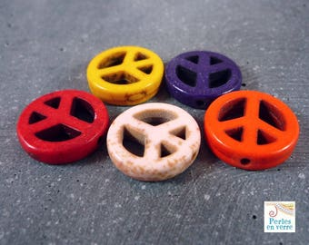 5 Peace and Love beads howlite, 15mm diameter, (PH21)