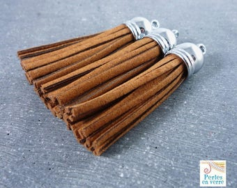 1 large brown suede tassel, silver, 55 mm (div36)