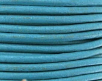 1 m (cui29) turquoise 2mm leather cord