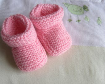 Slippers 1 month 'rose' Moss stitch
