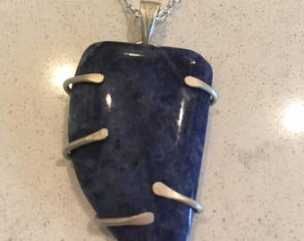 Sterling silver and lapis pendant