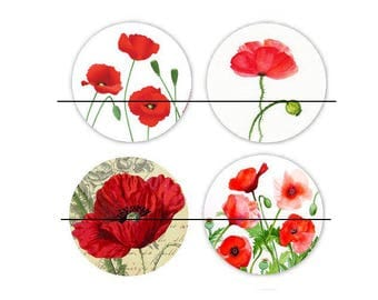 set of 4 Cabochons glass paste Coquelicot3 30 mm
