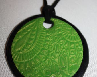 Green and black polymer clay necklace