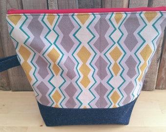 Large Knitting Project Bag - Flat Bottom - Travel Bag - Drop Spindle Bag - Crochet Project - Eco Bag - Zipper Bag - Recycled Bag - Altfield
