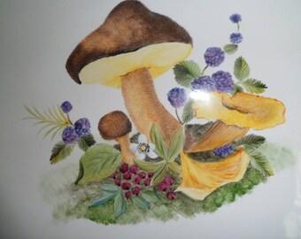 plate holder or villa mushrooms pattern plate