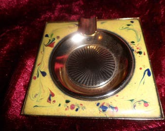 metal ashtray with enamel on copper plate