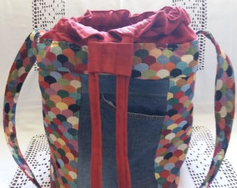 Denim multicolor bucket bag