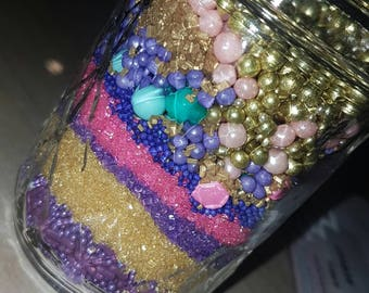 Purple. Pink. Turquoise and gold 8oz mix