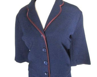 L 60s Suit Jackie O Style 2pc Jacket Skirt Navy Blue Red Piping Button Front Pull On Skirt Boxy A Pomette Fashion Large