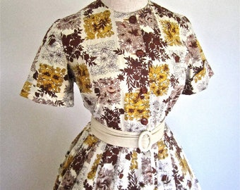M 50s 60s Floral Day Dress Brown Yellow Full Skirt by Manford Button Front Casual House Shirtwaist Shirt Dress Medium