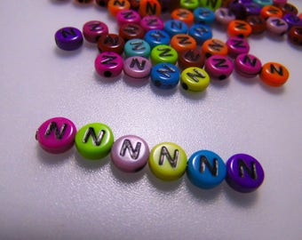 LETTERS COLOR - N - 7MM ACRYLIC BEADS