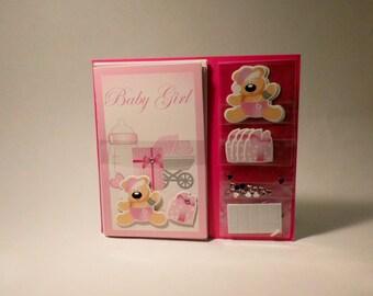 X 5 CARD-GIRL BIRTH ANNOUNCEMENT DOUBLE A CUSTOMIZE + ENVELOPES