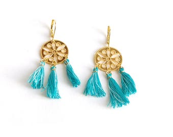 Shaman - Bohemian earrings with gold discs turquoise tassels