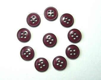 Set of 10 round buttons, 11.5 mm synthetic, Plum, 4 holes.