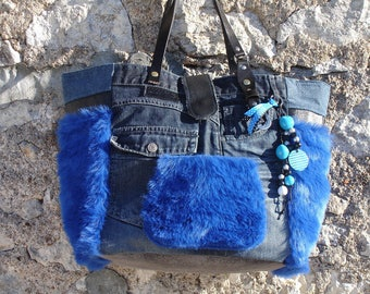 jean - Royal Blue faux fur - black faux leather tote bag