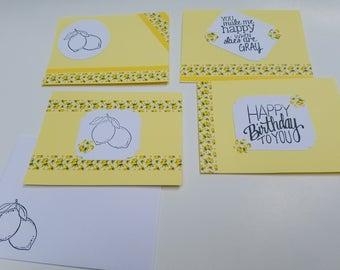 Set of 4 Lemon cards ( yellow or blue option)