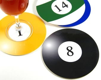 Set of 6 round coasters set of 6 coaster billiard balls billiard balls round coasters