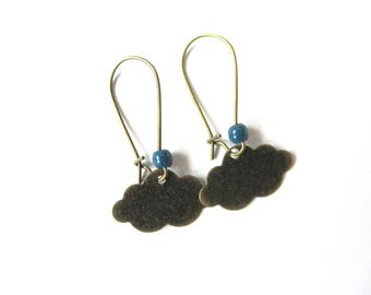 Bronze cloud and blue pearl earrings
