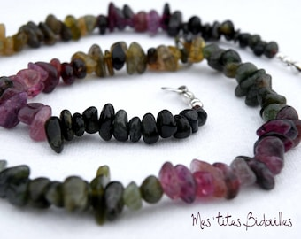 Tourmaline multicolored Chips necklace 925 Silver clasp.