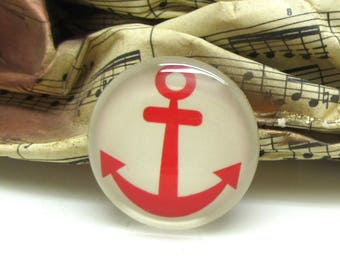 2 cabochons 16 mm glass red anchor sailor spirit - 16 mm