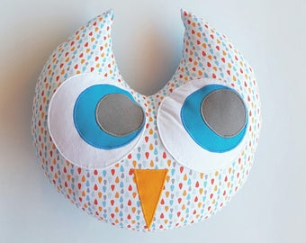 Cotton OWL pillow blue 33cm