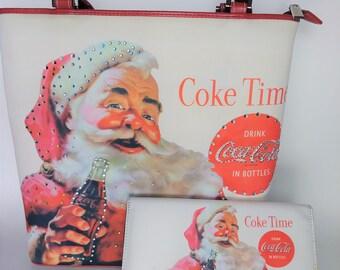 Coca Cola Santa Purse, Coca Cola Purse, Santa Purse, Coca Cola Shoulder Bag, Vintage Purse, Retro Purse, Antique Purse, Vintage Coca Cola