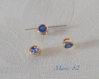 Pearl cubic zirconia blue Cobalt - gold plated - 3 holes