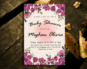 Floral Baby Shower Invitation,Baby Shower Invitation,Floral Baby Invitation,Baby Shower Invitation,Shower Invitation,Baby Pink Floral, Pink