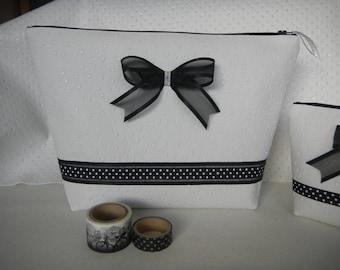 """Toiletry bag """"Mimi"""" black and white"""