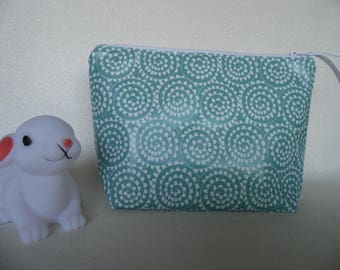 Makeup bag in seafoam green laminated cotton fabric